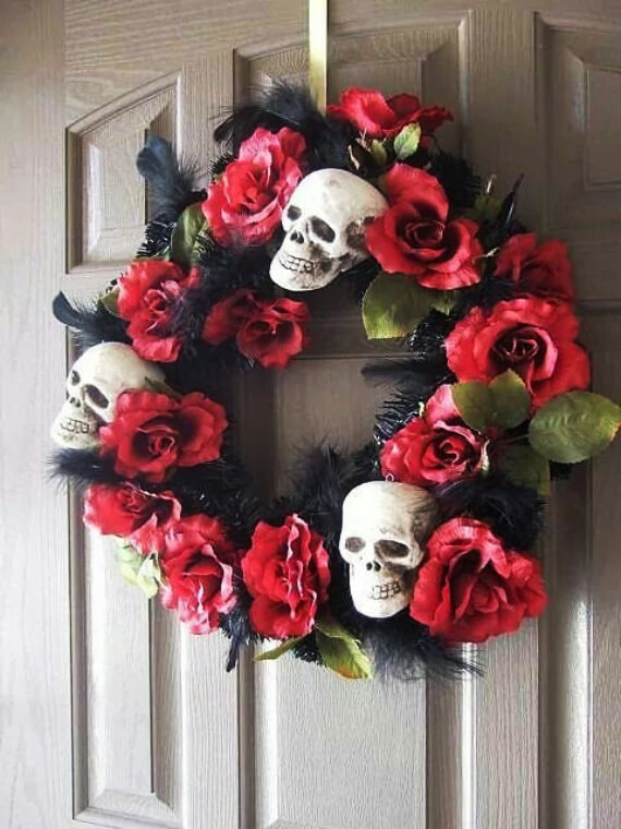 Halloween Door Decoration Ideas: The Day of the Dead Wreath