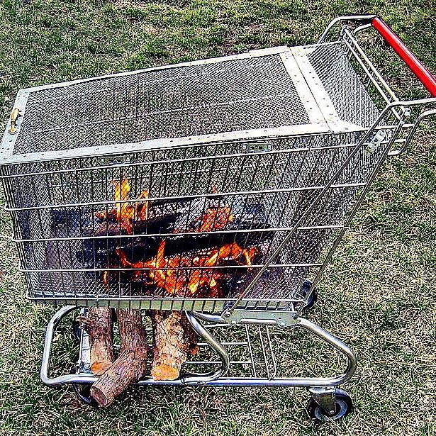 Portable Fire Pit with Built in Log Storage Rack | Awesome Firepit Area Ideas For Your Outdoor Activities