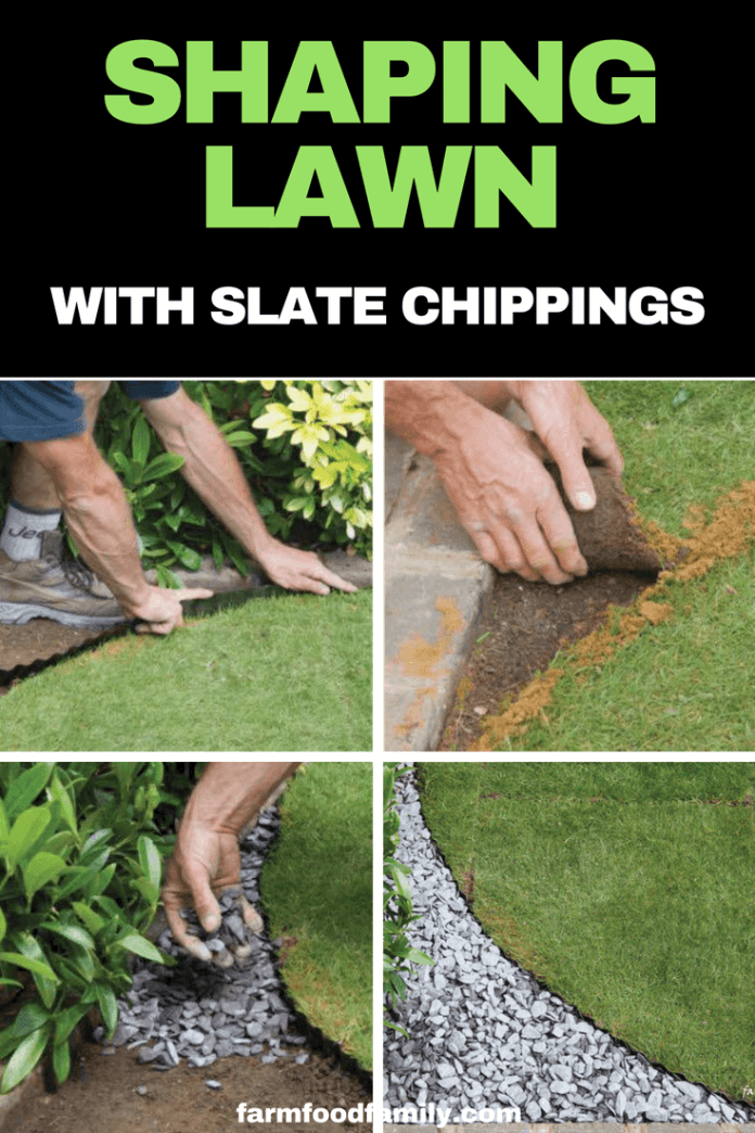 Garden Edging Ideas: Shaping a lawn with slate chippings or gravel
