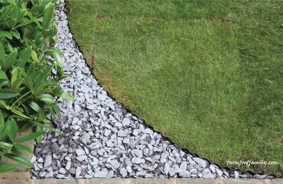 Garden Edging Ideas: Shaping a lawn with slate chippings
