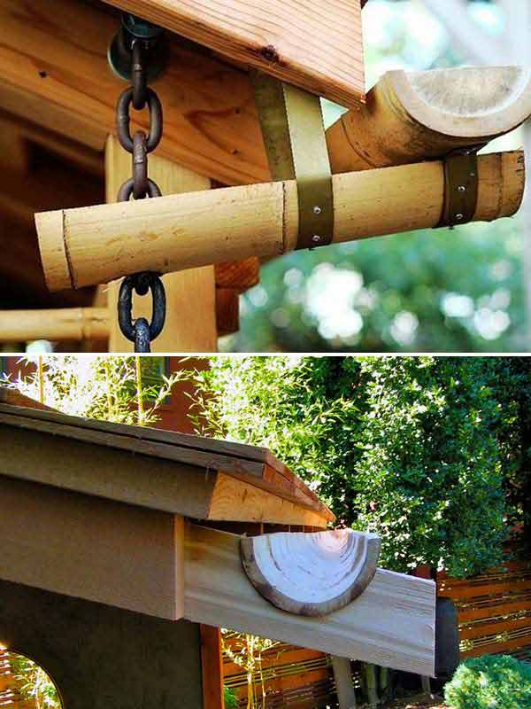 Bamboo Rain Gutters | Stunning Bamboo Craft Projects | FarmFoodFamily.com