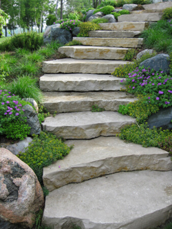Outdoor Stone Slab Stair | Creative Garden Step & Stair Ideas | FarmFoodFamily