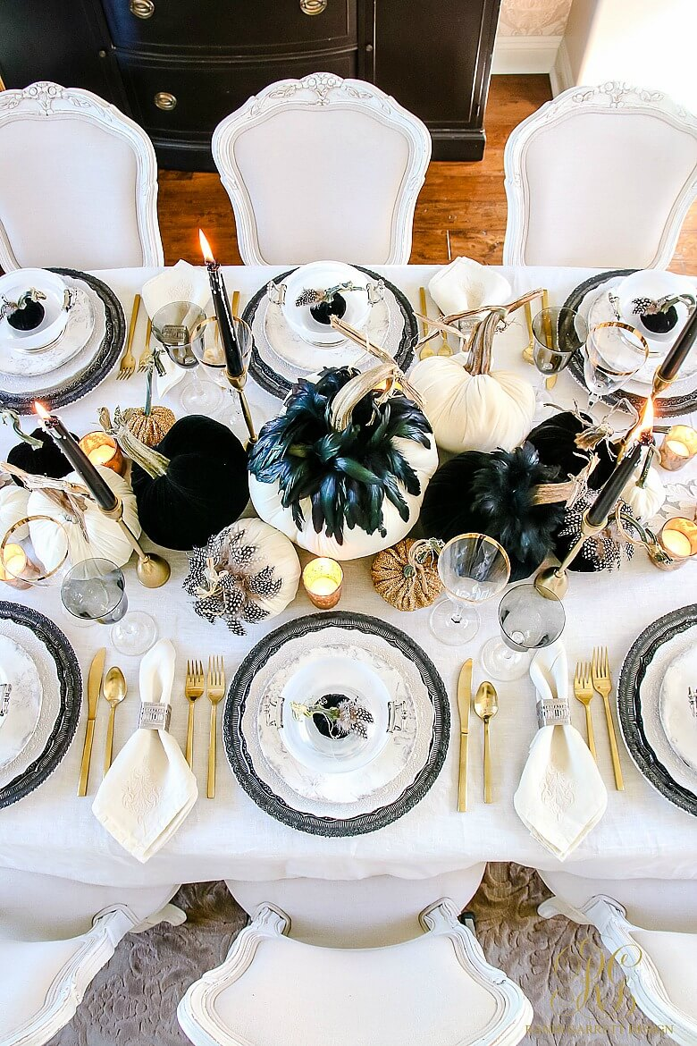 Glam Halloween Table | Fun & Spooky Halloween Table Decoration Ideas - FarmFoodFamily.com