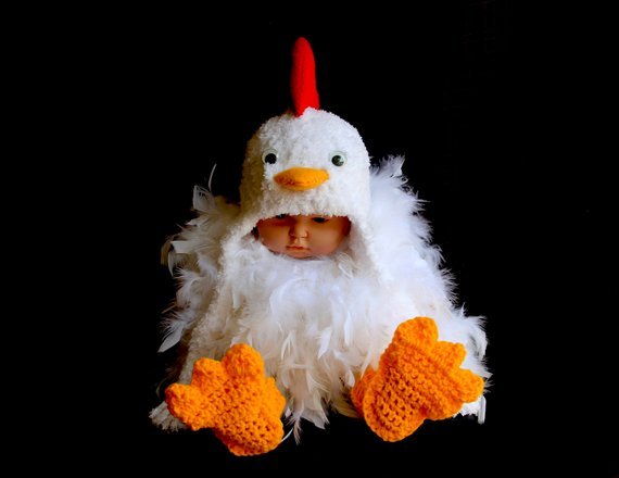 Crochet Chicken Costume | Animal Halloween Costumes for Kids, Adults - FarmFoodFamily.com