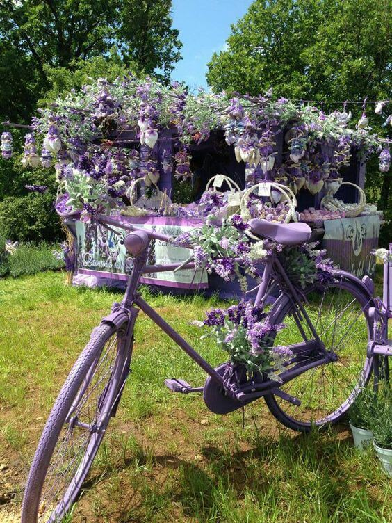Lavender Bicycle   Bicycle Garden Planter Ideas For Backyards   FarmFoodFamily