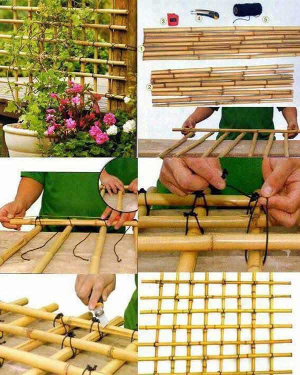 Plant Trellis | Stunning Bamboo Craft Projects | FarmFoodFamily.com