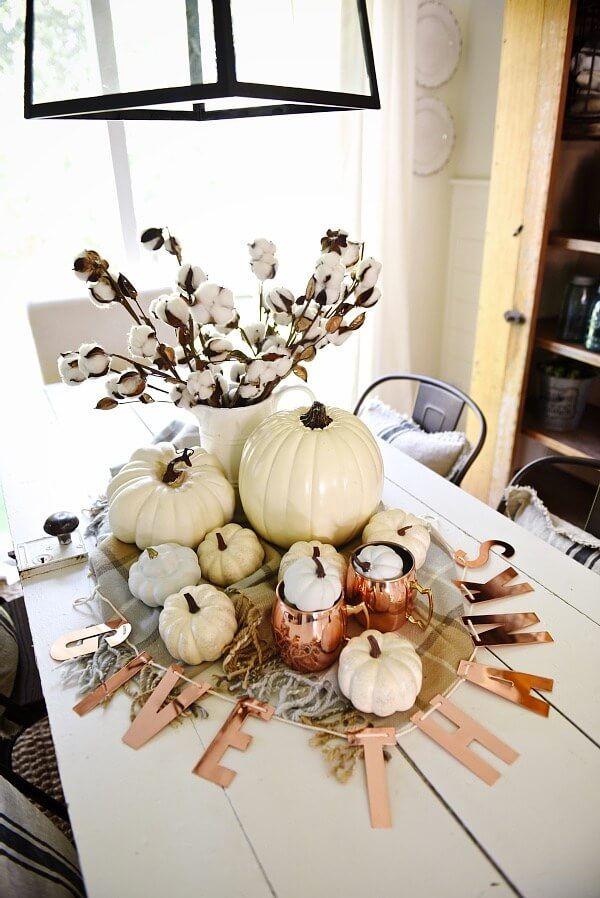 Neutral and Copper Fall Centerpiece | Best DIY Fall Centerpiece Ideas | FarmFoodFamily.com