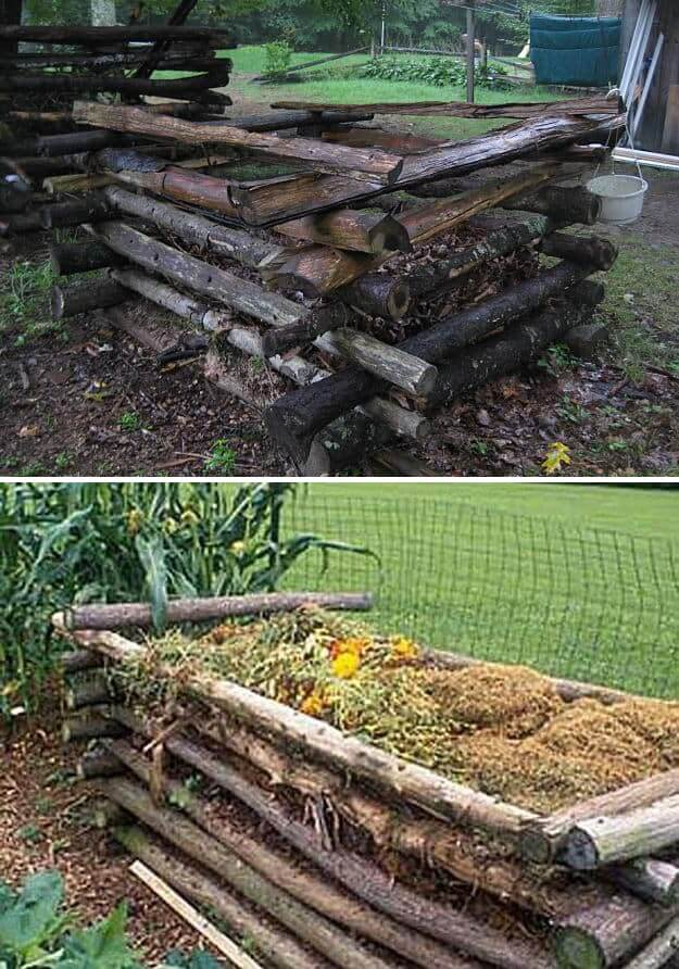 Log compost bin | Easy Compost Bins You Can DIY On Very Low Budget - FarmFoodFamily.com