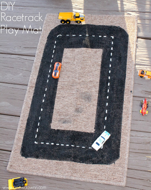 DIY Racetrack Play mat | DIY Race Car Tracks for Kids - FarmFoodFamily