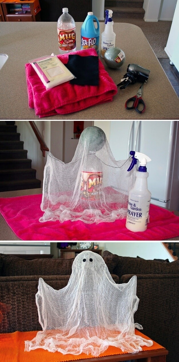 Floating Ghost | Last-Minute Halloween Crafts and Hacks | FarmFoodFamily.com