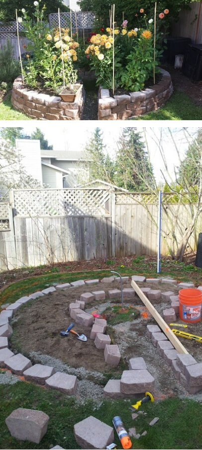 Keyhole garden | Cool Round Garden Bed Ideas For Landscape Design - FarmFoodFamily.com #raisedgarden #raisedgardenbed #gardenbed