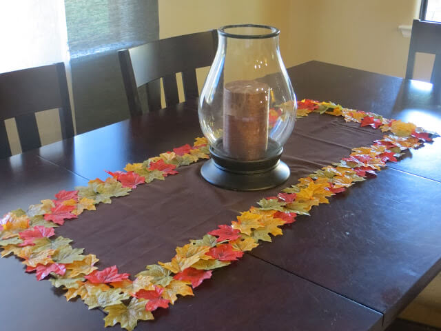 Fall Leaf table runner | DIY Fall-Inspired Home Decorations With Leaves - FarmFoodFamily
