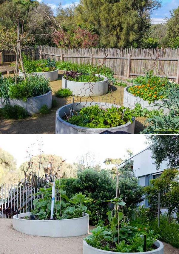 Pipe Garden Bed | Cool Round Garden Bed Ideas For Landscape Design - FarmFoodFamily.com #raisedgarden #raisedgardenbed #gardenbed