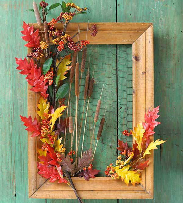 Picture Frame Wreath | DIY Fall-Inspired Home Decorations With Leaves - FarmFoodFamily