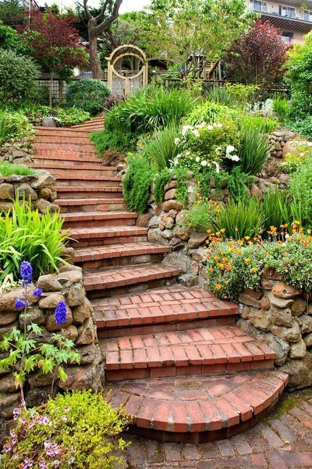 Brick Stair | Creative Garden Step & Stair Ideas | FarmFoodFamily