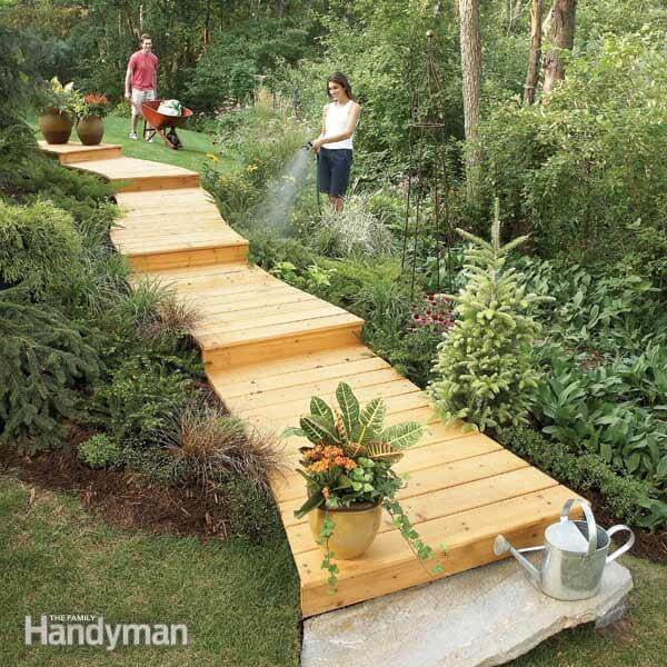 Wooden Boardwalk | Creative Garden Step & Stair Ideas | FarmFoodFamily