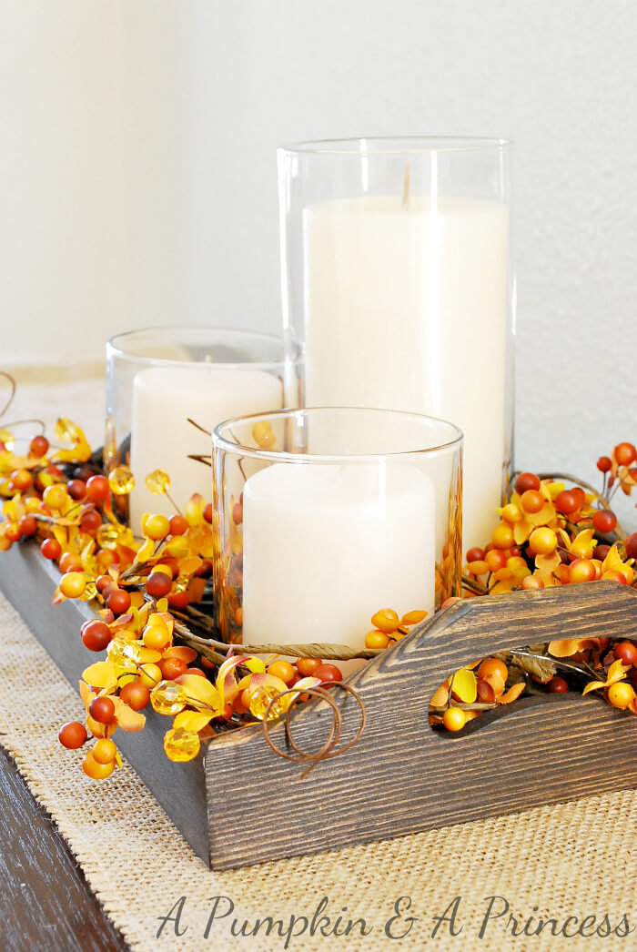Fall Candle Centerpiece | Best DIY Fall Centerpiece Ideas | FarmFoodFamily.com
