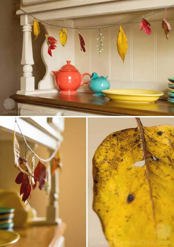Leaves garland | DIY Fall-Inspired Home Decorations With Leaves - FarmFoodFamily