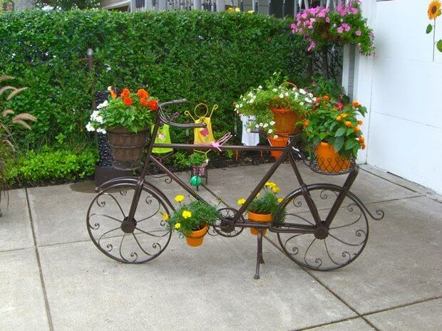Five-Planter Wrought Iron Bicycle | Bicycle Garden Planter Ideas For Backyards | FarmFoodFamily