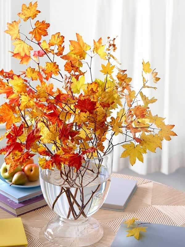 Fall Leaves Vase | DIY Fall-Inspired Home Decorations With Leaves - FarmFoodFamily