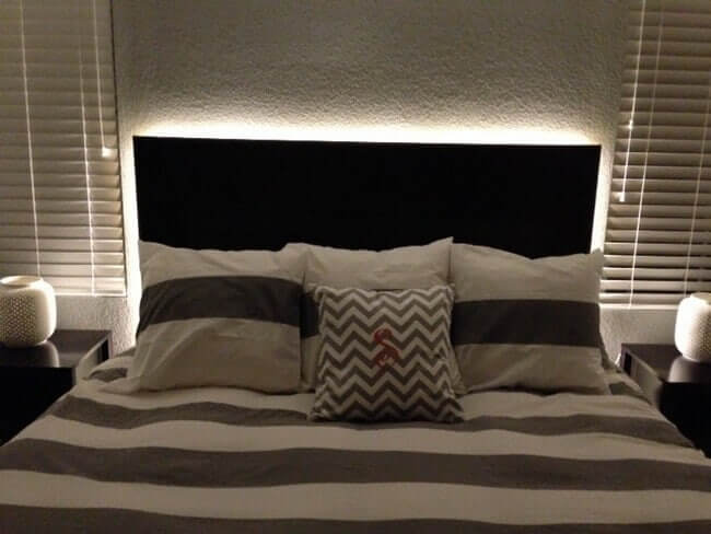 Floating Headboard With LED Lighting | DIY Headboard Decoration Ideas for Bedroom