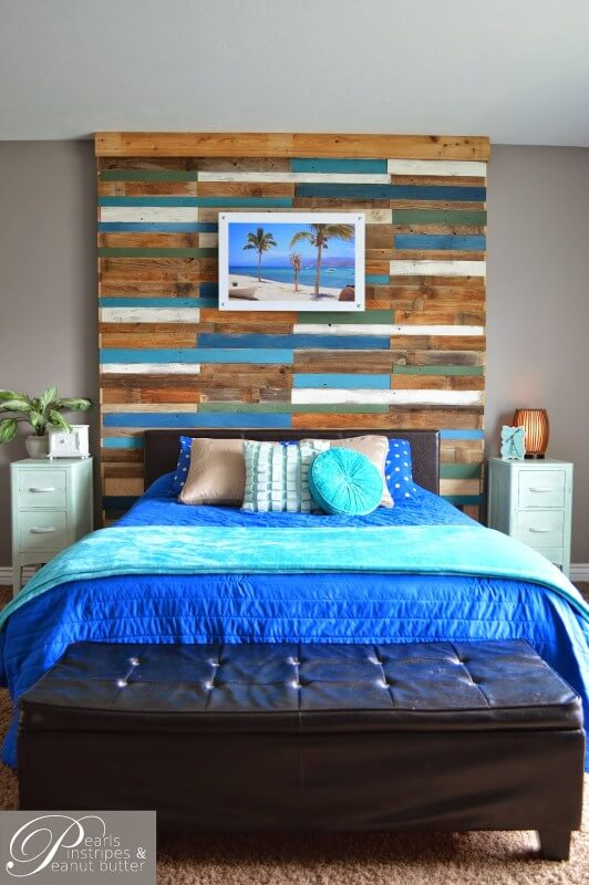 Beach-Inspired Plank Headboard Wall | DIY Headboard Decoration Ideas for Bedroom