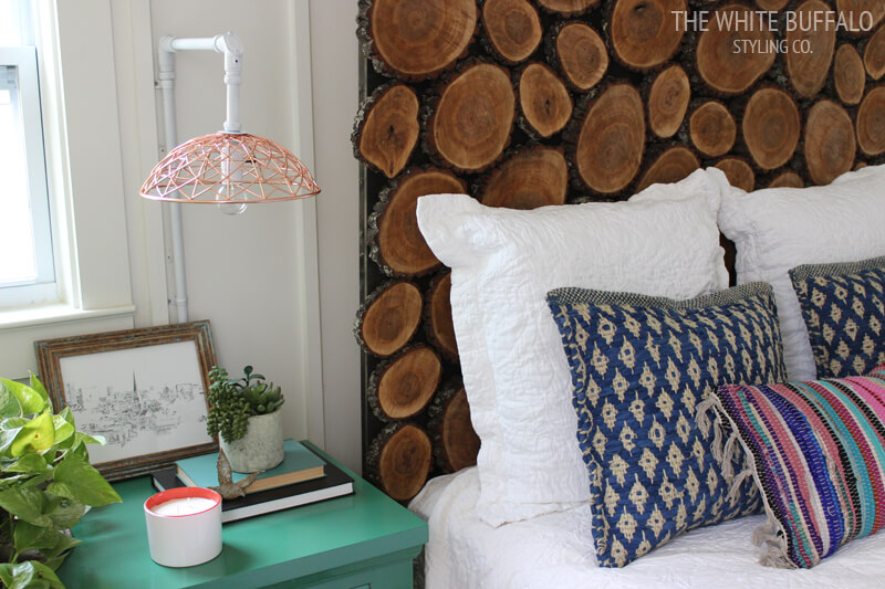 DIY Wood-Round Headboard
