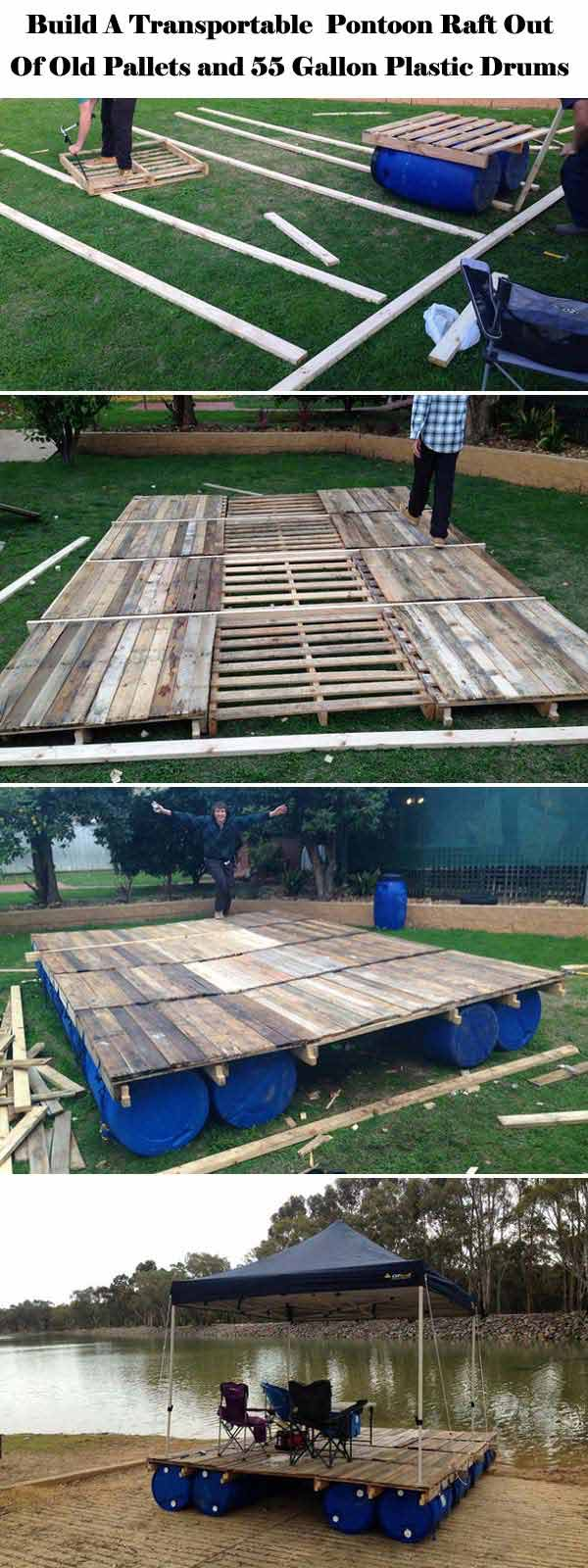 Transportable pontoon raft out of old pallets
