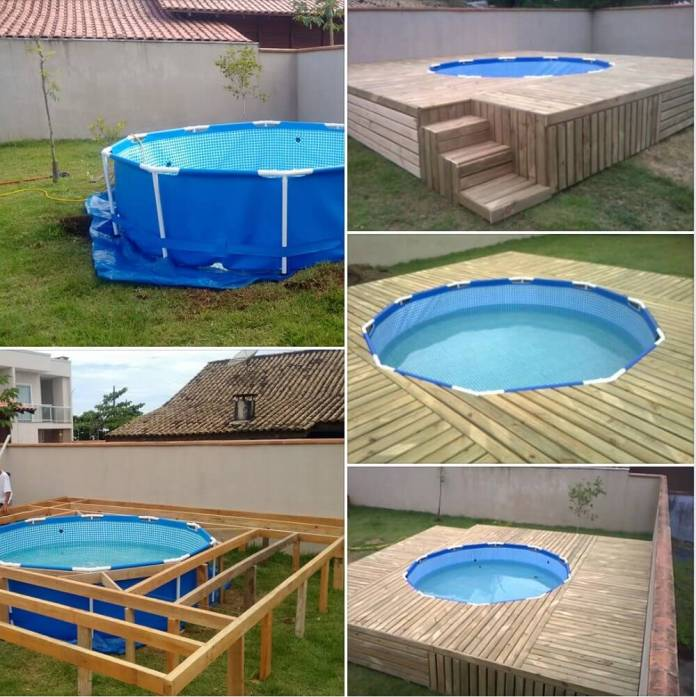 Plastic pool with wooden deck