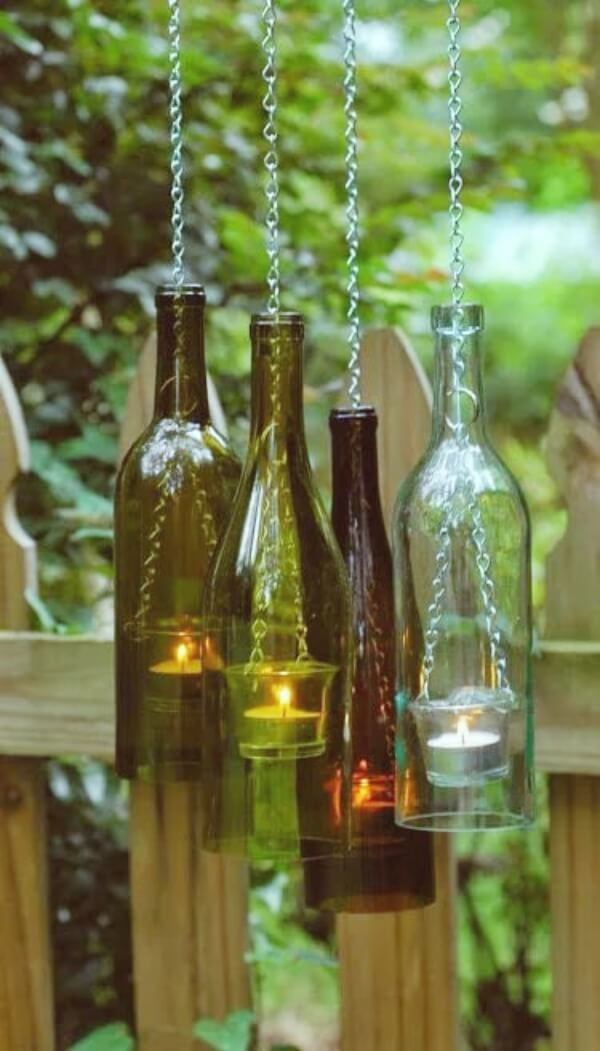 Wine bottle lantern | Creative DIY Garden Lantern Ideas - FarmFoodFamily.com