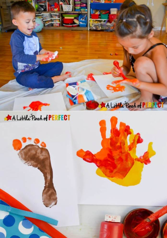 Handprint and footprint Turkey | Simple Ideas for Kids' Crafts for Thanksgiving - FarmFoodFamily.com