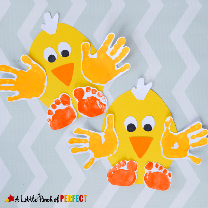 Handprint Spring Chicks | Simple Ideas for Kids' Crafts for Thanksgiving - FarmFoodFamily.com
