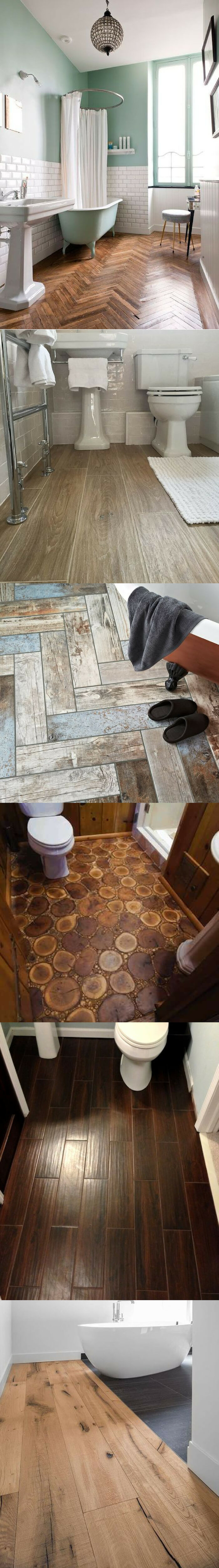 Wood bathroom floor tile ideas
