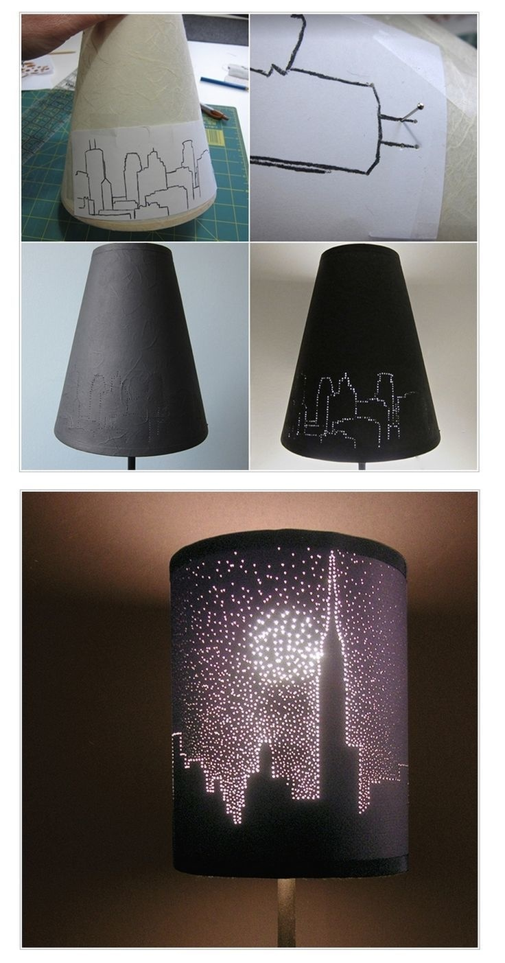 Create a cityscape of tiny lights | Homemade Decorative Lamp Shade Ideas | FarmFoodFamily