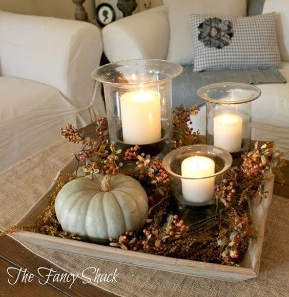 Fall Vignette | DIY Fall Candle Decoration Ideas - Farmfoodfamily.com