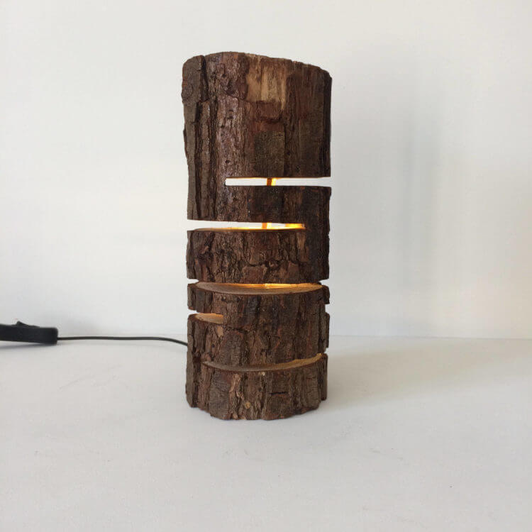 Wood Log Lamp | DIY Wood Tree Log Decor Ideas - FarmFoodFamily.com