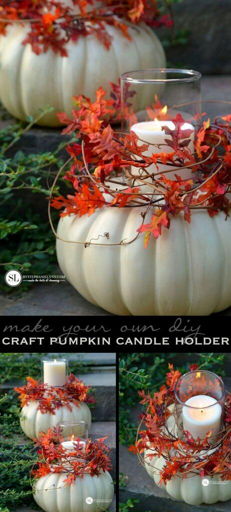 Pumpkin Candle Holder | DIY Fall Candle Decoration Ideas - Farmfoodfamily.com