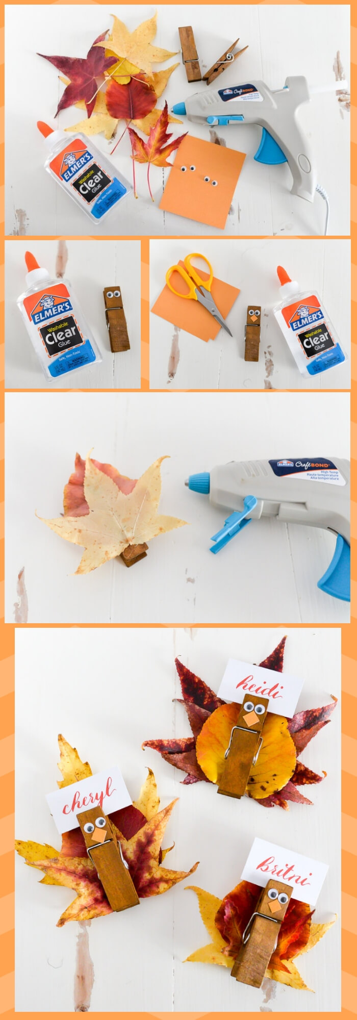 Easy turkey place card holders | Simple Ideas for Kids' Crafts for Thanksgiving - FarmFoodFamily.com