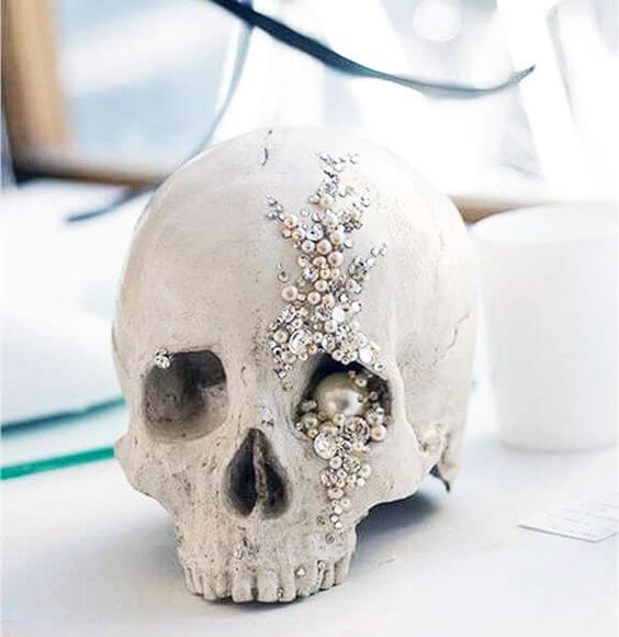 A sparkly jewelled skull | Halloween Wedding Theme Ideas - Farmfoodfamily.com