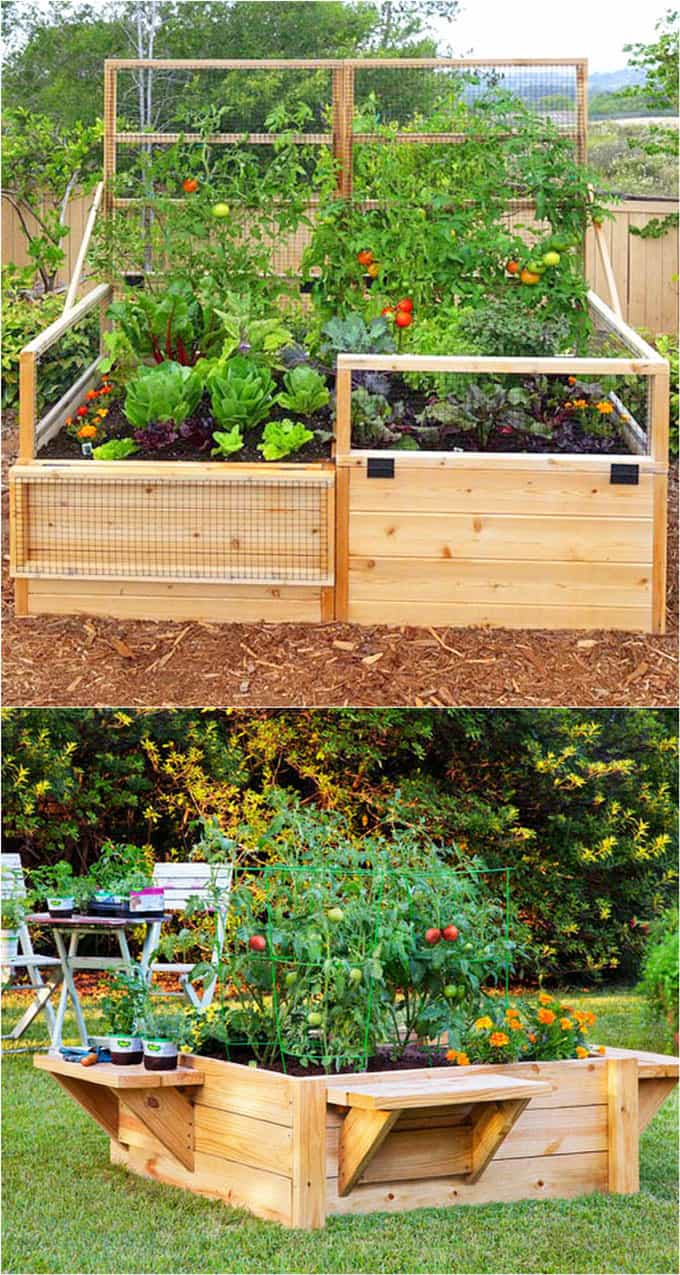 Raised Beds with benches | How to Build a Raised Vegetable Garden Bed | 39+ Simple & Cheap Raised Vegetable Garden Bed Ideas - farmfoodfamily.com