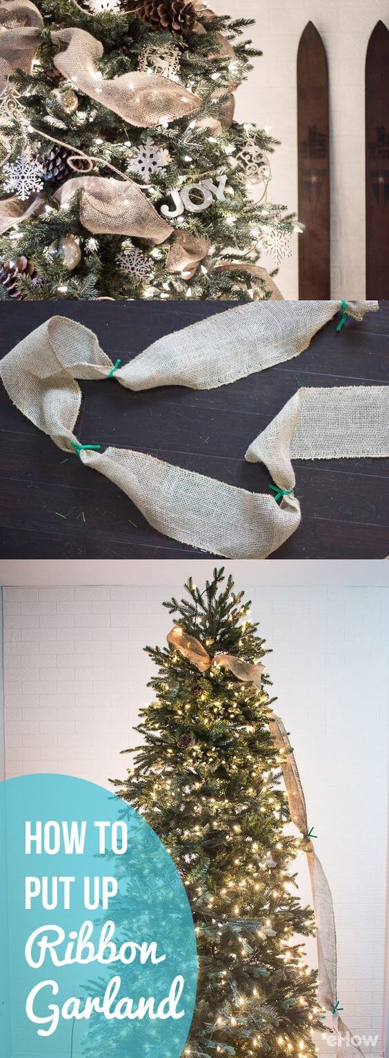 How to Put Ribbon Garland on a Christmas Tree | Best Way to Decorate Christmas Trees on a Budget: Inexpensive or Free & Easy Holiday Ornaments & Decorations