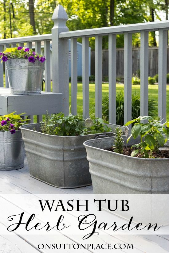 Vintage Galvanized Wash Tub Herb Garden | Flower Garden Ideas for Containers and Windowboxes