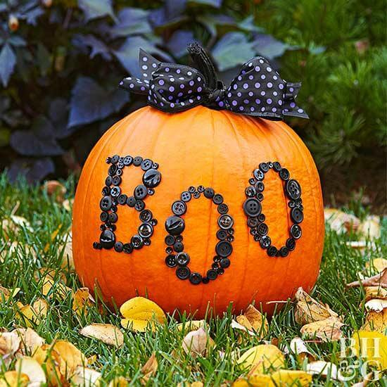 Boo-tiful Button Pumpkin | No-Carve Pumpkin Decorating Ideas For This Halloween