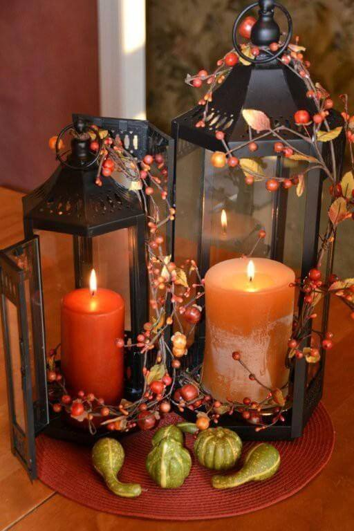 Christmas Lantern Decor | DIY Fall Candle Decoration Ideas - Farmfoodfamily.com