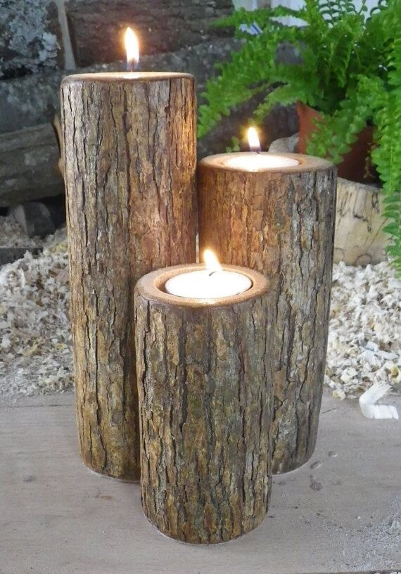 DIY for summer night | DIY Wood Tree Log Decor Ideas - FarmFoodFamily.com