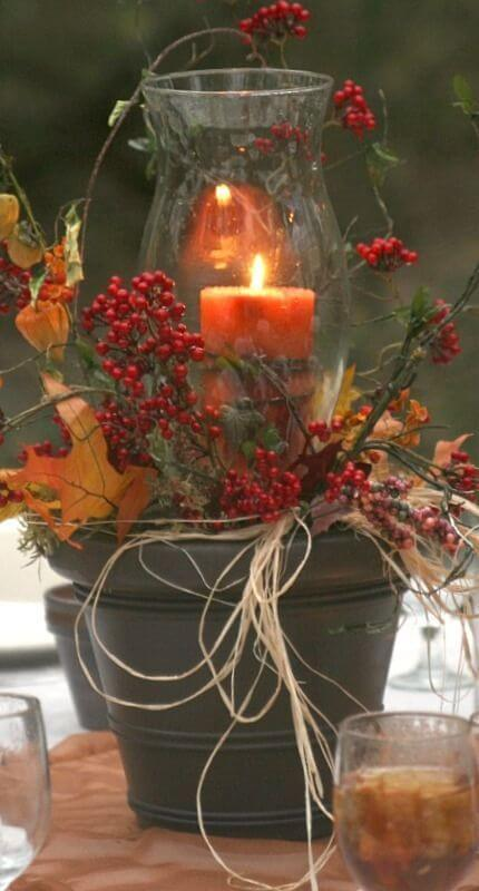 Fall Centerpiece Ideas | DIY Fall Candle Decoration Ideas - Farmfoodfamily.com