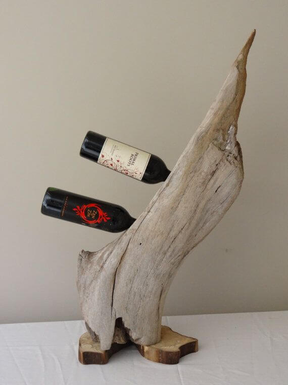 Wine rack | DIY Wood Tree Log Decor Ideas - FarmFoodFamily.com