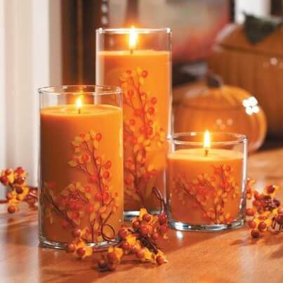 Yankee candle | DIY Fall Candle Decoration Ideas - Farmfoodfamily.com
