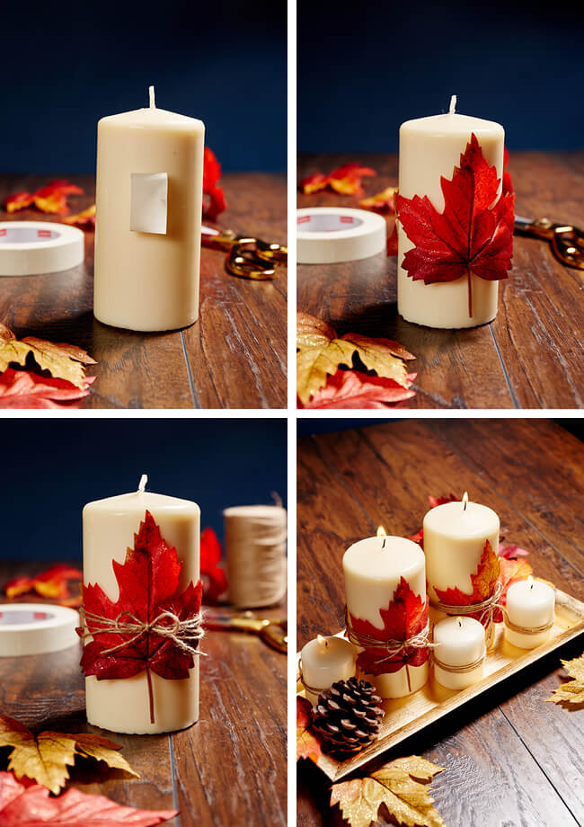 A stunning centerpiece | DIY Fall Candle Decoration Ideas - Farmfoodfamily.com