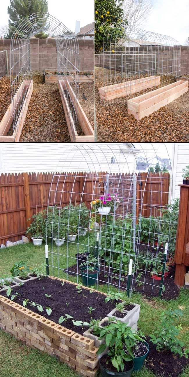 Trellis garden bed | How to Build a Raised Vegetable Garden Bed | 39+ Simple & Cheap Raised Vegetable Garden Bed Ideas - farmfoodfamily.com